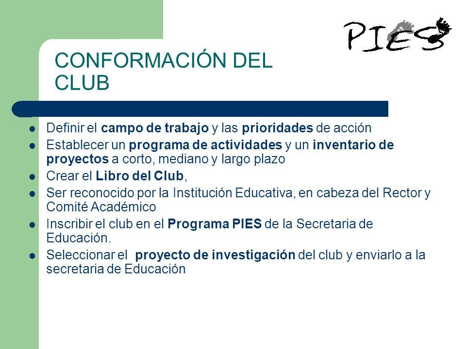 CONFORMACIÓN DEL CLUB Definir el campo de trabajo y las prioridades de acción.