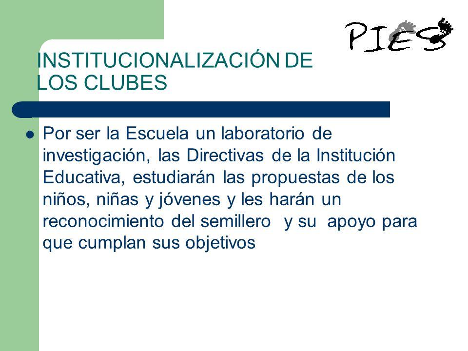INSTITUCIONALIZACIÓN DE LOS CLUBES