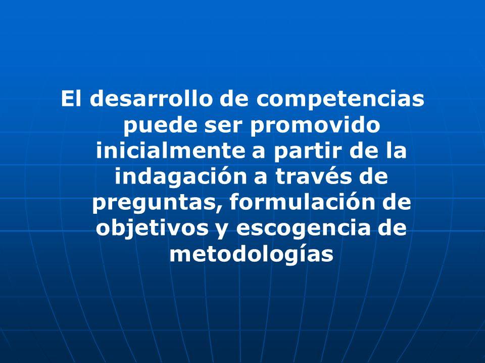 El desarrollo de competencias puede ser promovido inicialmente a partir de la indagación a través de preguntas, formulación de objetivos y escogencia de metodologías