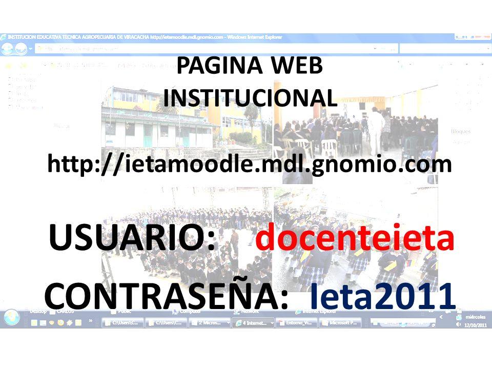PAGINA WEB INSTITUCIONAL http://ietamoodle.mdl.gnomio.com