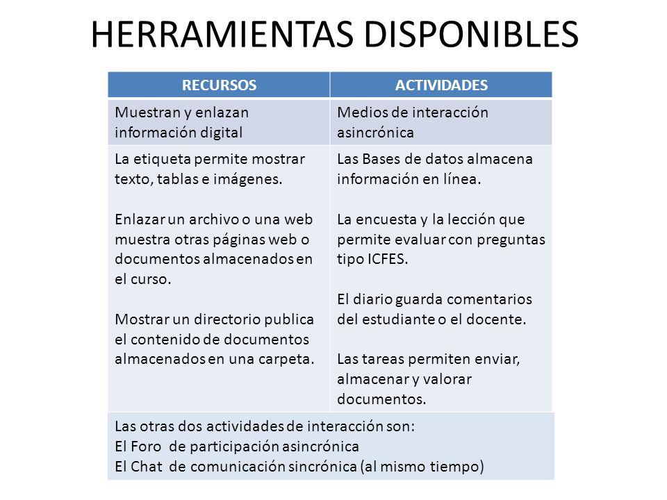 HERRAMIENTAS DISPONIBLES