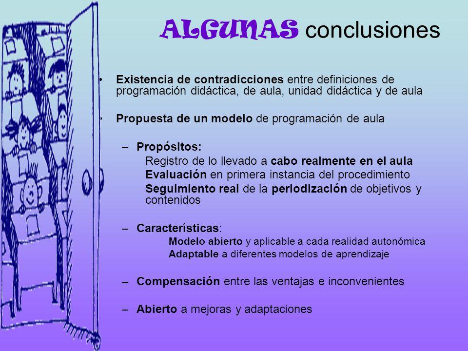 ALGUNAS conclusiones Existencia de contradicciones entre definiciones de programación didáctica, de aula, unidad didáctica y de aula.