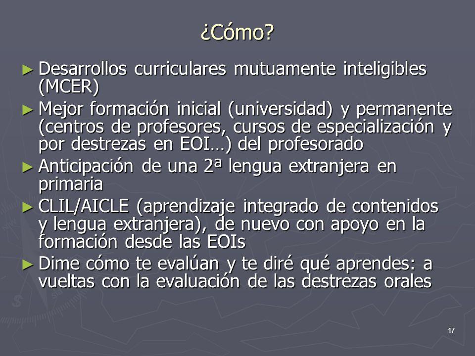 ¿Cómo Desarrollos curriculares mutuamente inteligibles (MCER)