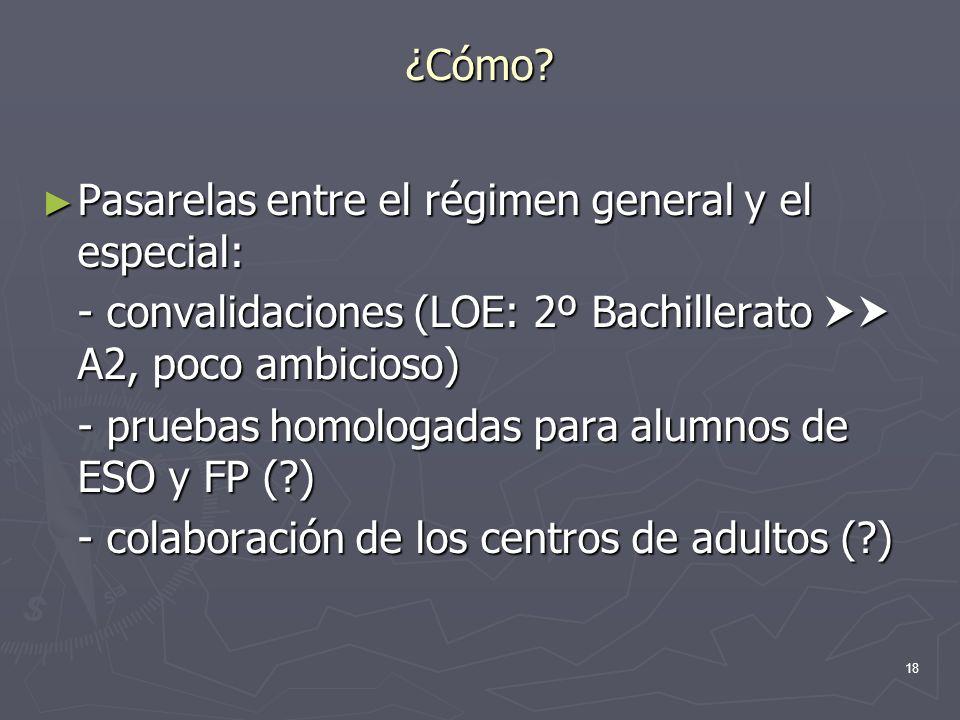 ¿Cómo Pasarelas entre el régimen general y el especial: - convalidaciones (LOE: 2º Bachillerato  A2, poco ambicioso)