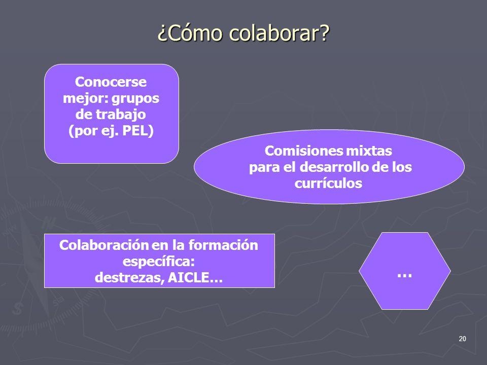 ¿Cómo colaborar … Conocerse mejor: grupos de trabajo (por ej. PEL)