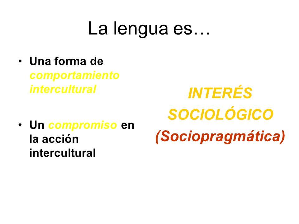 La lengua es… INTERÉS SOCIOLÓGICO (Sociopragmática)