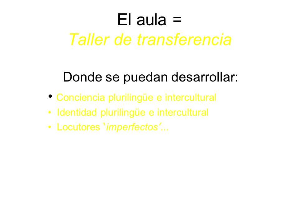 El aula = Taller de transferencia