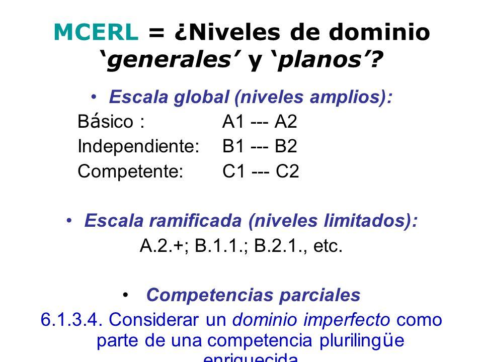 MCERL = ¿Niveles de dominio 'generales' y 'planos'