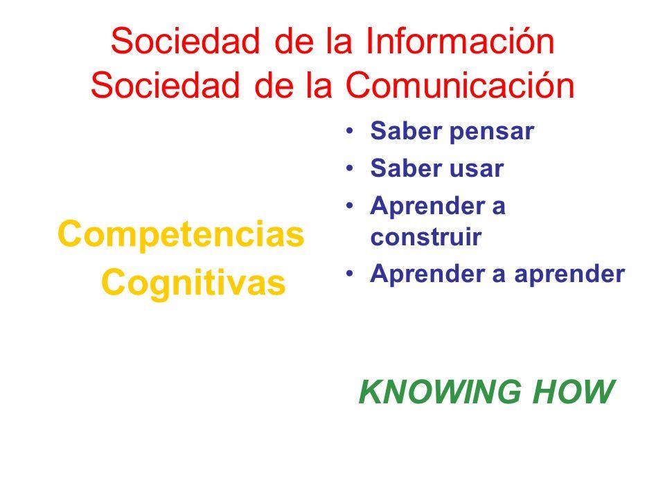 Sociedad de la Información Sociedad de la Comunicación