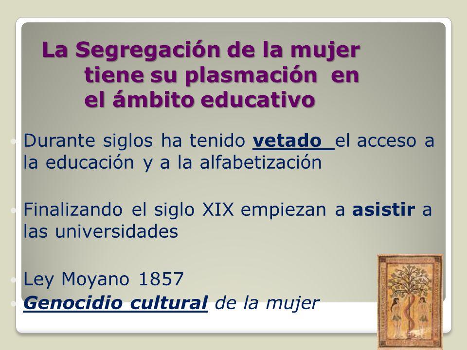La Segregación de la mujer tiene su plasmación en el ámbito educativo