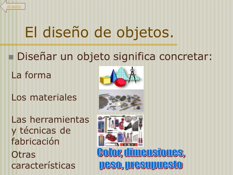 El diseño de objetos. Color, dimensiones, peso, presupuesto