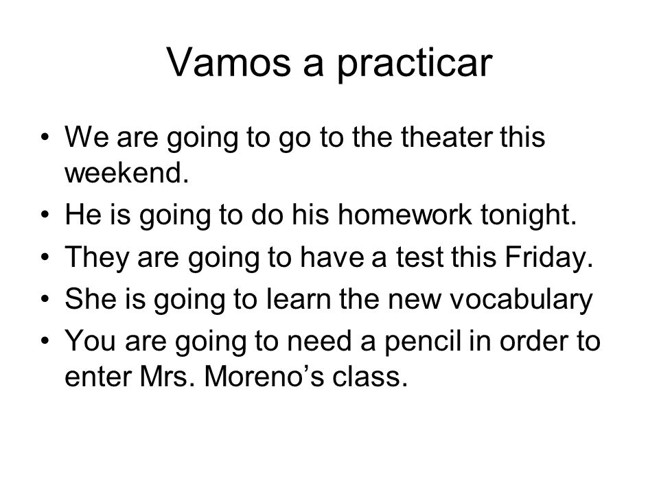 Vamos a practicar We are going to go to the theater this weekend.