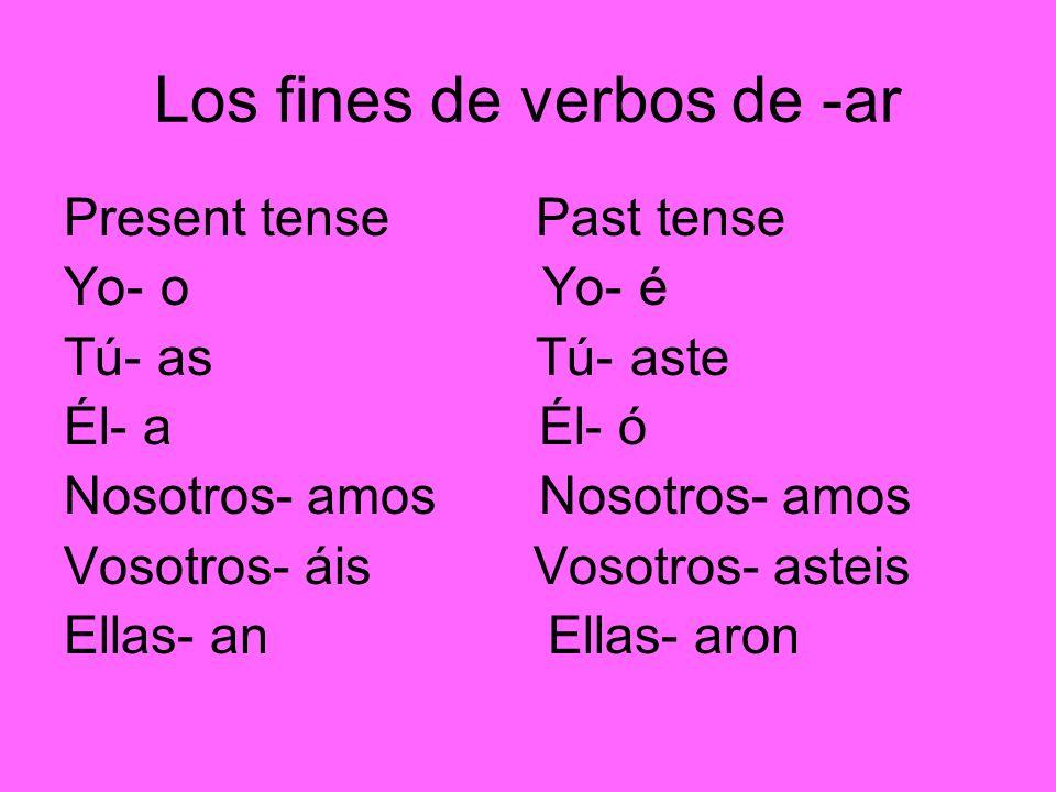 Los fines de verbos de -ar