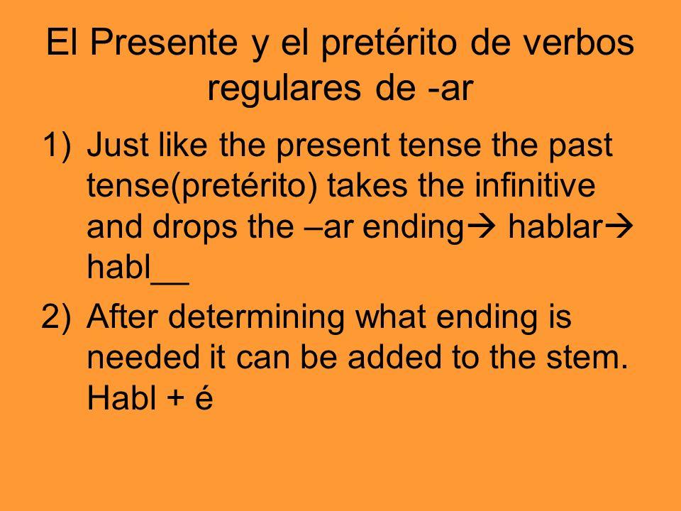 El Presente y el pretérito de verbos regulares de -ar