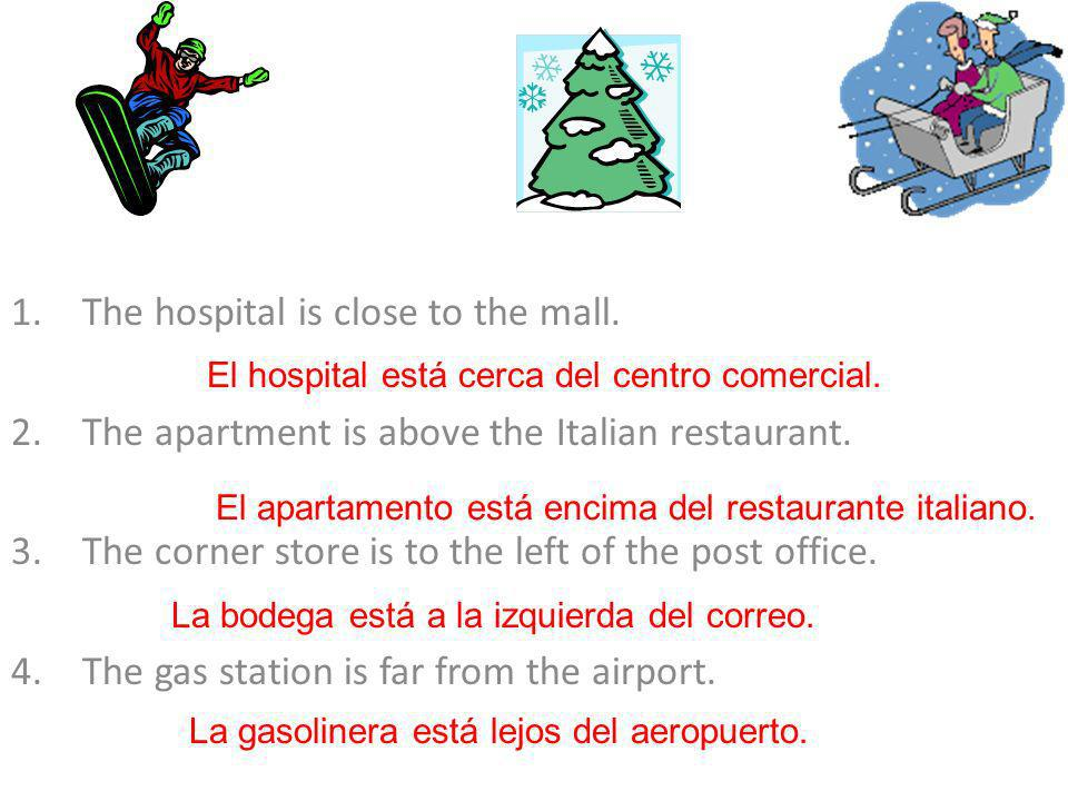 The hospital is close to the mall.