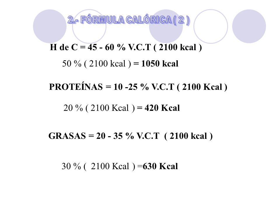 PROTEÍNAS = 10 -25 % V.C.T ( 2100 Kcal )