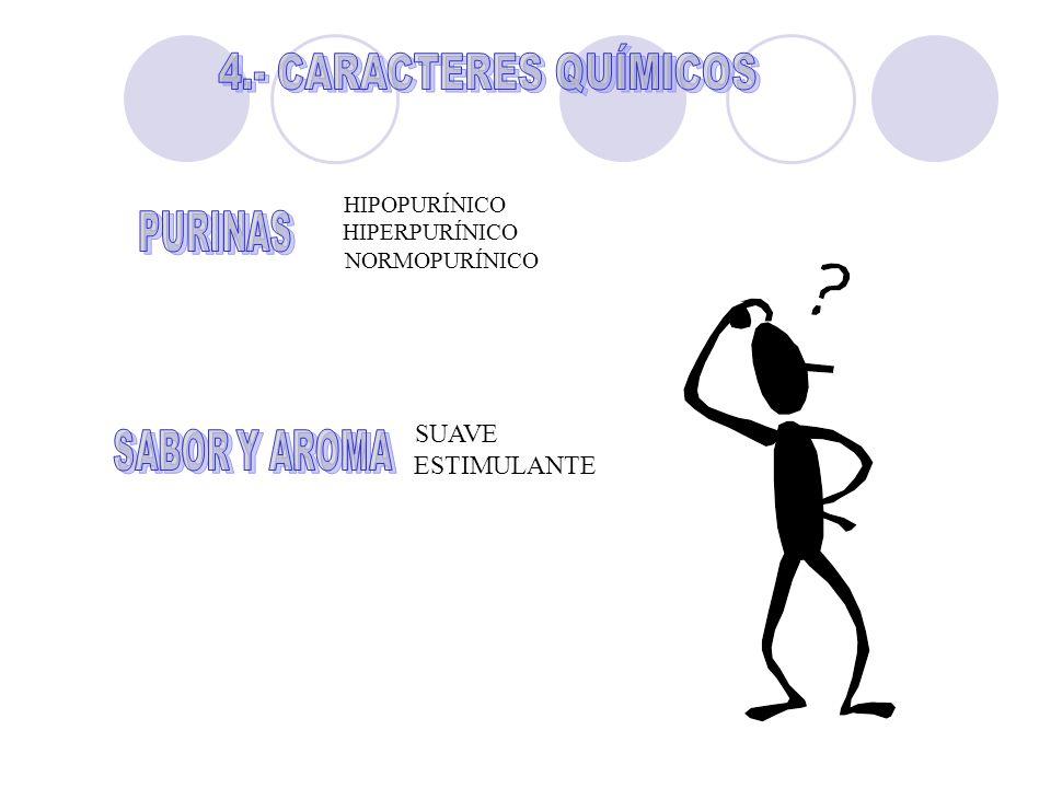 4.- CARACTERES QUÍMICOS PURINAS SABOR Y AROMA SUAVE ESTIMULANTE