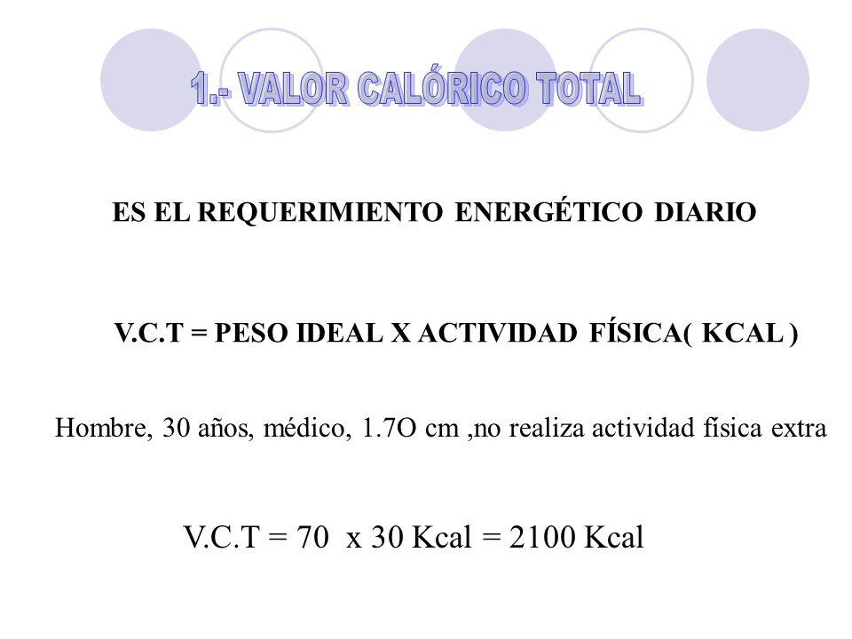 V.C.T = 70 x 30 Kcal = 2100 Kcal 1.- VALOR CALÓRICO TOTAL