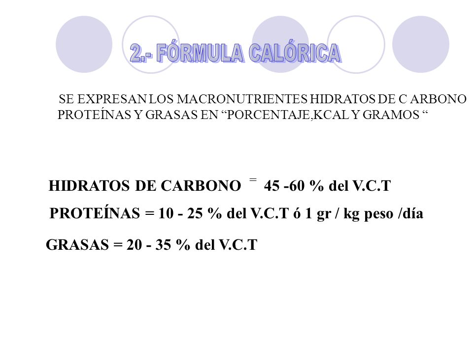 PROTEÍNAS = 10 - 25 % del V.C.T ó 1 gr / kg peso /día