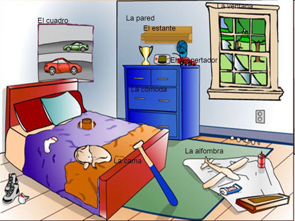 La ventana La pared El cuadro El estante El despertador La cómoda La alfombra La cama