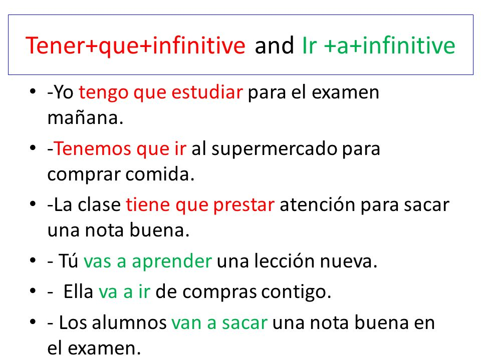 Tener+que+infinitive and Ir +a+infinitive
