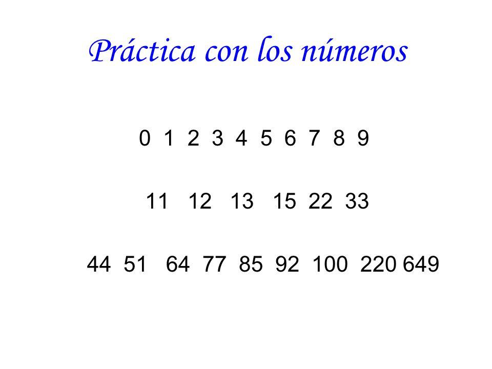 Práctica con los números