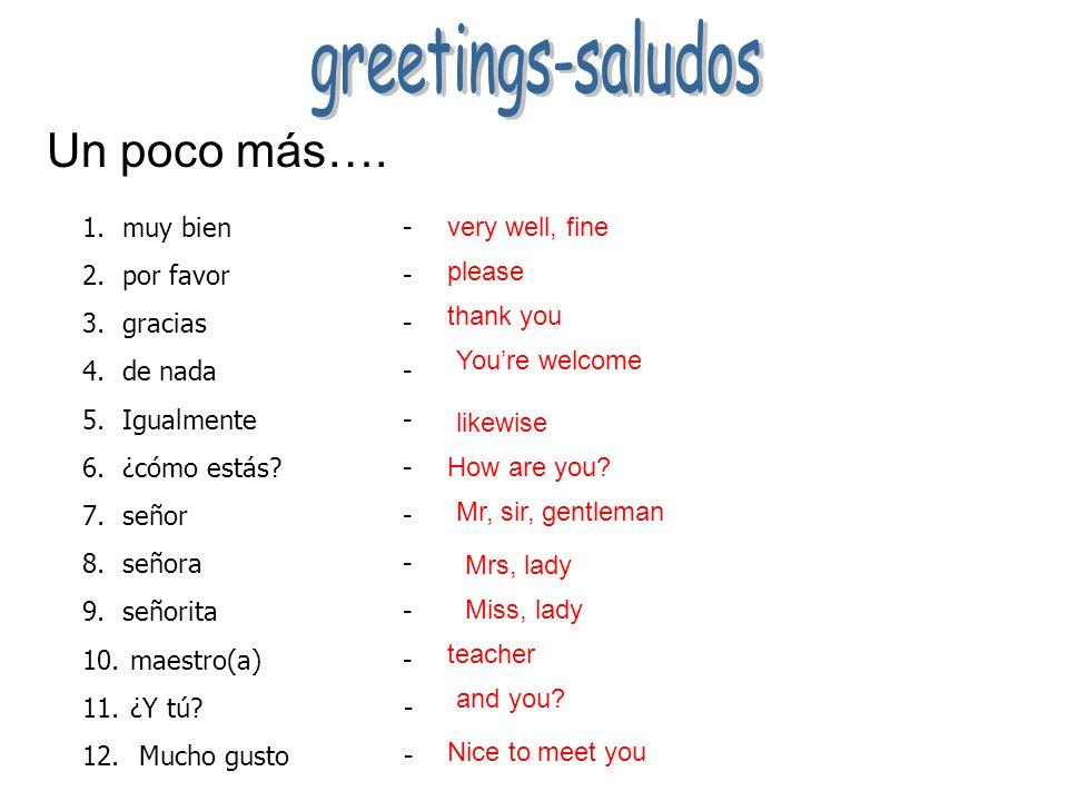 greetings-saludos Un poco más…. muy bien - por favor - gracias -