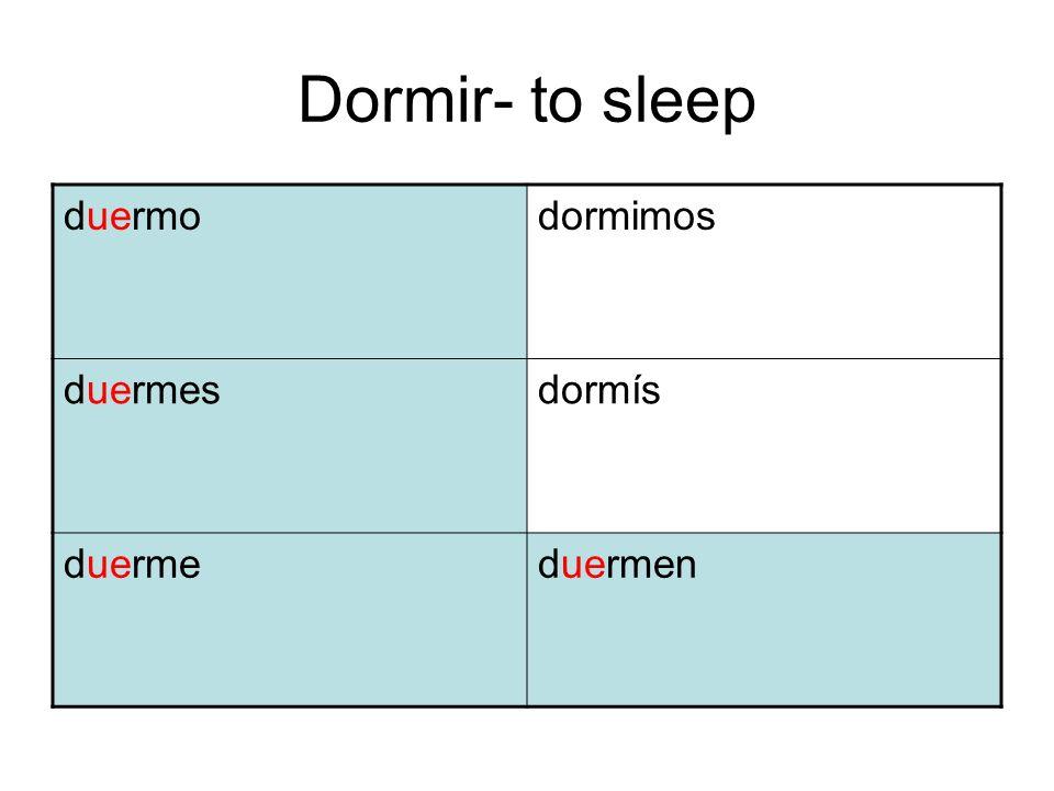 Dormir- to sleep duermo dormimos duermes dormís duerme duermen