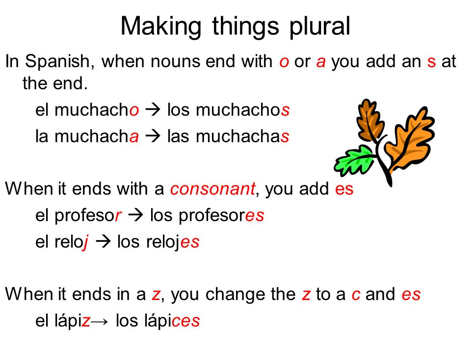 Making things pluralIn Spanish, when nouns end with o or a you add an s at the end. el muchacho  los muchachos.