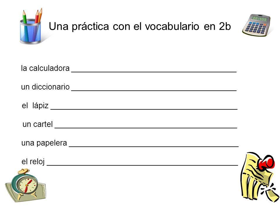 Una práctica con el vocabulario en 2b