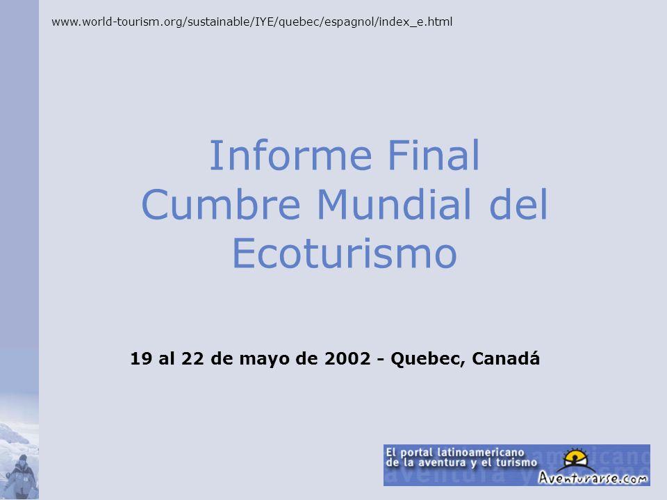 Informe Final Cumbre Mundial del Ecoturismo
