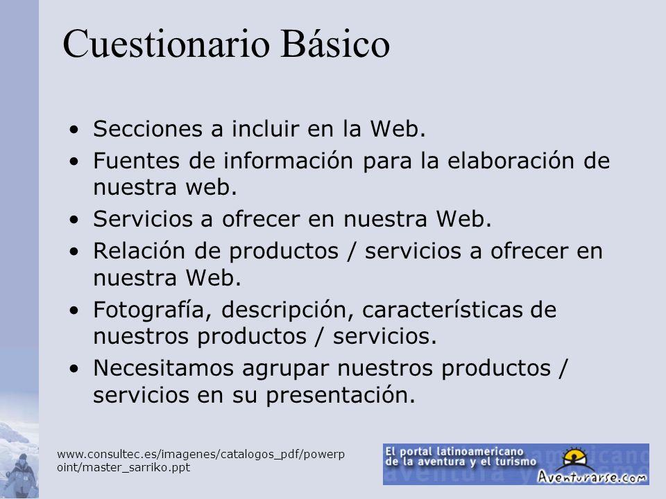 Cuestionario Básico Secciones a incluir en la Web.
