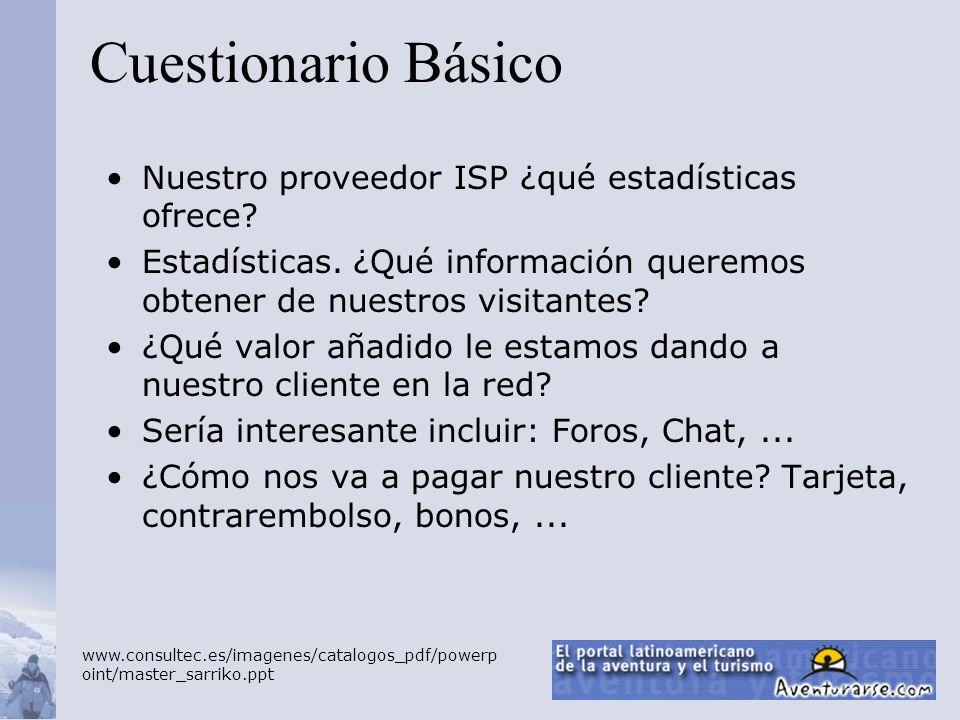 Cuestionario Básico Nuestro proveedor ISP ¿qué estadísticas ofrece