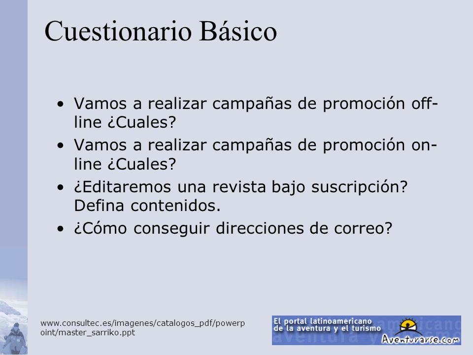 Cuestionario Básico Vamos a realizar campañas de promoción off-line ¿Cuales Vamos a realizar campañas de promoción on-line ¿Cuales
