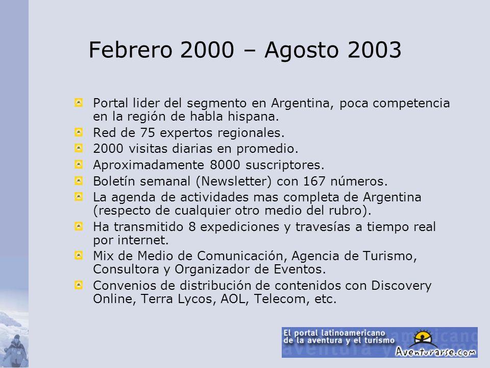 Febrero 2000 – Agosto 2003 Portal lider del segmento en Argentina, poca competencia en la región de habla hispana.