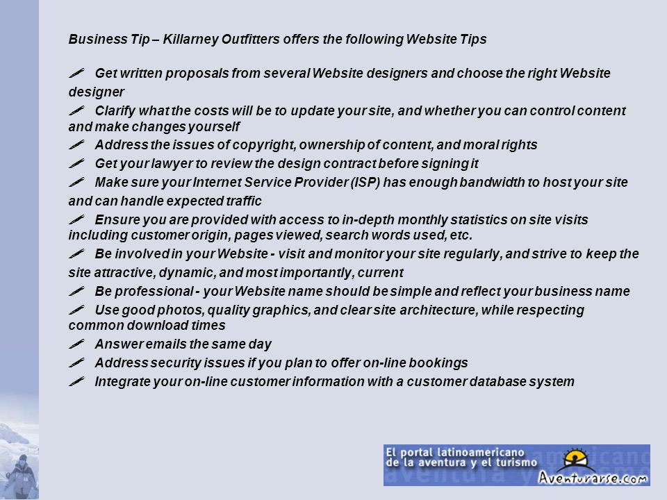 Business Tip – Killarney Outfitters offers the following Website Tips
