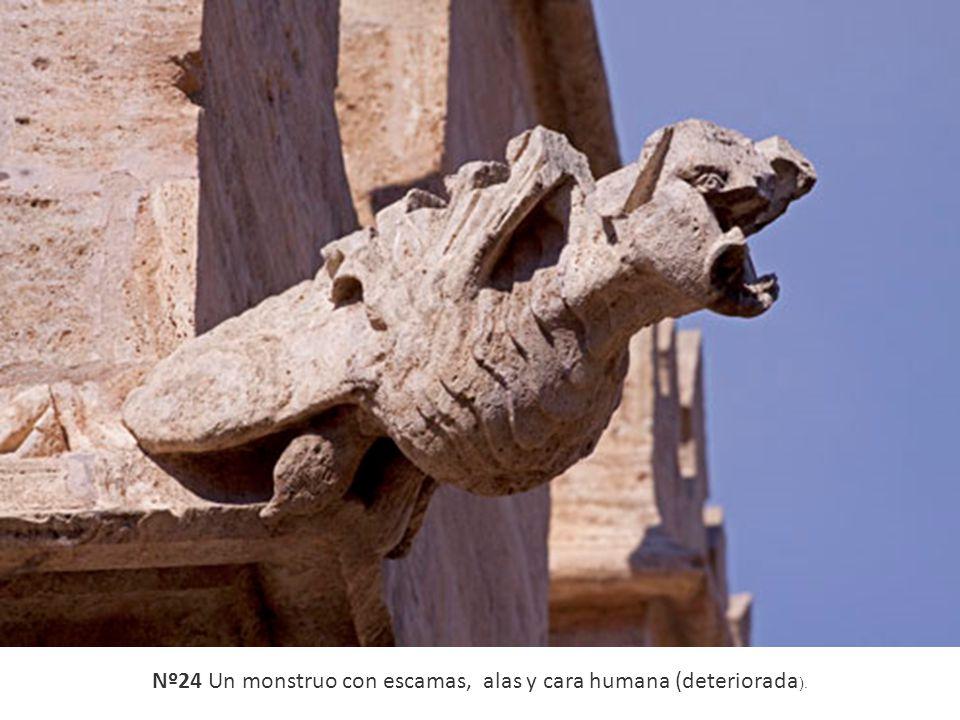 Nº24 Un monstruo con escamas, alas y cara humana (deteriorada).