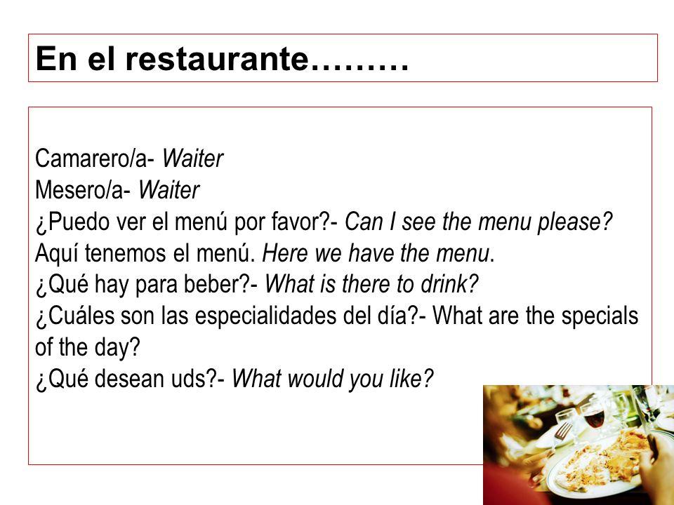 En el restaurante……… Camarero/a- Waiter Mesero/a- Waiter
