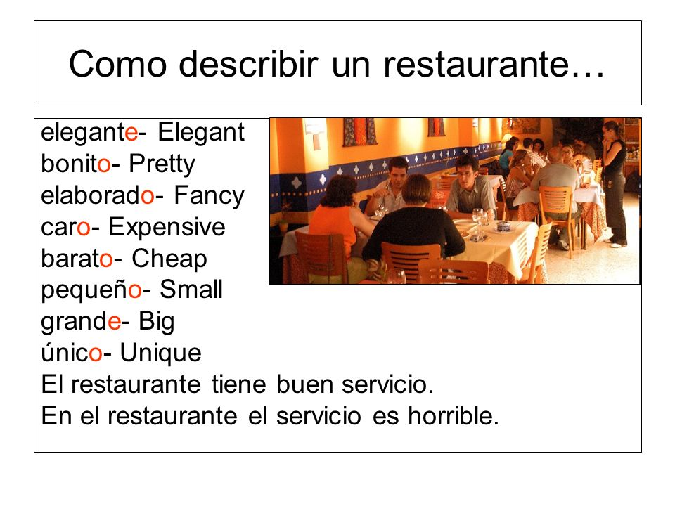 Como describir un restaurante…