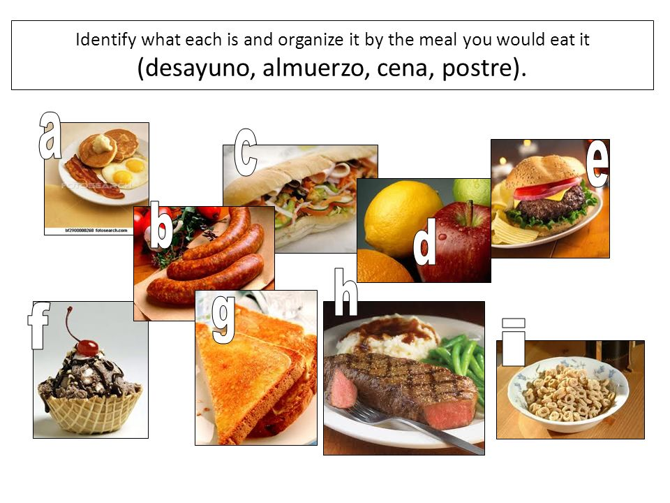 Identify what each is and organize it by the meal you would eat it (desayuno, almuerzo, cena, postre).
