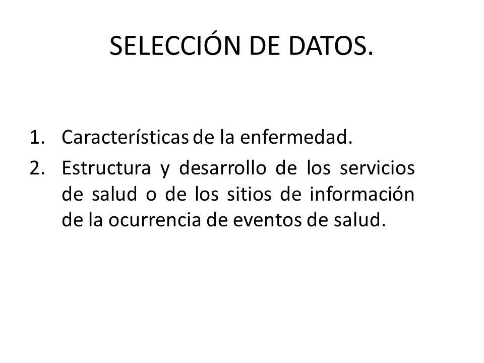 SELECCIÓN DE DATOS. Características de la enfermedad.