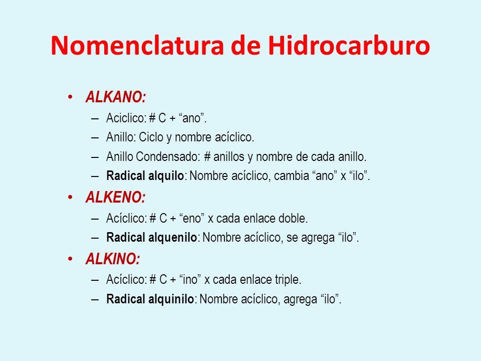 Nomenclatura de Hidrocarburo