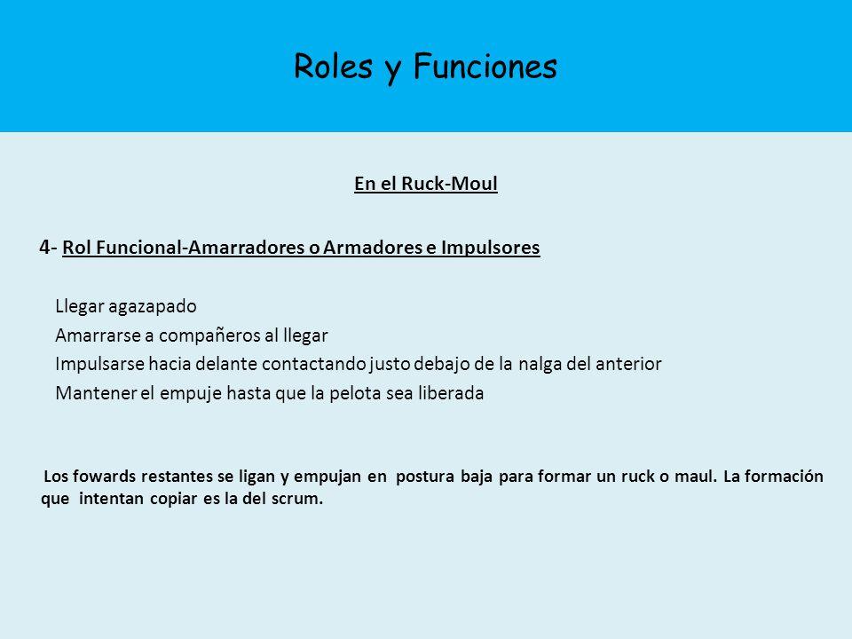 Roles y Funciones En el Ruck-Moul. 4- Rol Funcional-Amarradores o Armadores e Impulsores. Llegar agazapado.