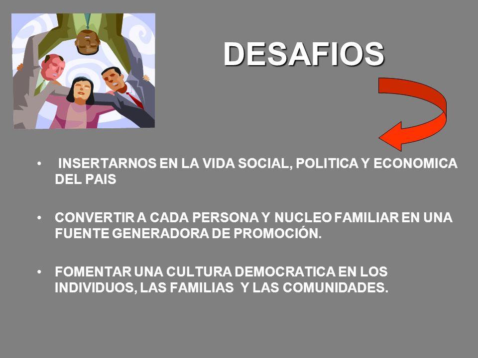 DESAFIOS INSERTARNOS EN LA VIDA SOCIAL, POLITICA Y ECONOMICA DEL PAIS