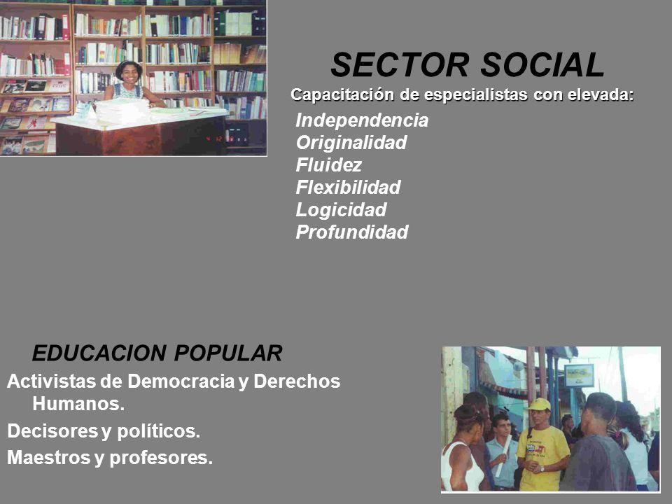 SECTOR SOCIAL Capacitación de especialistas con elevada: