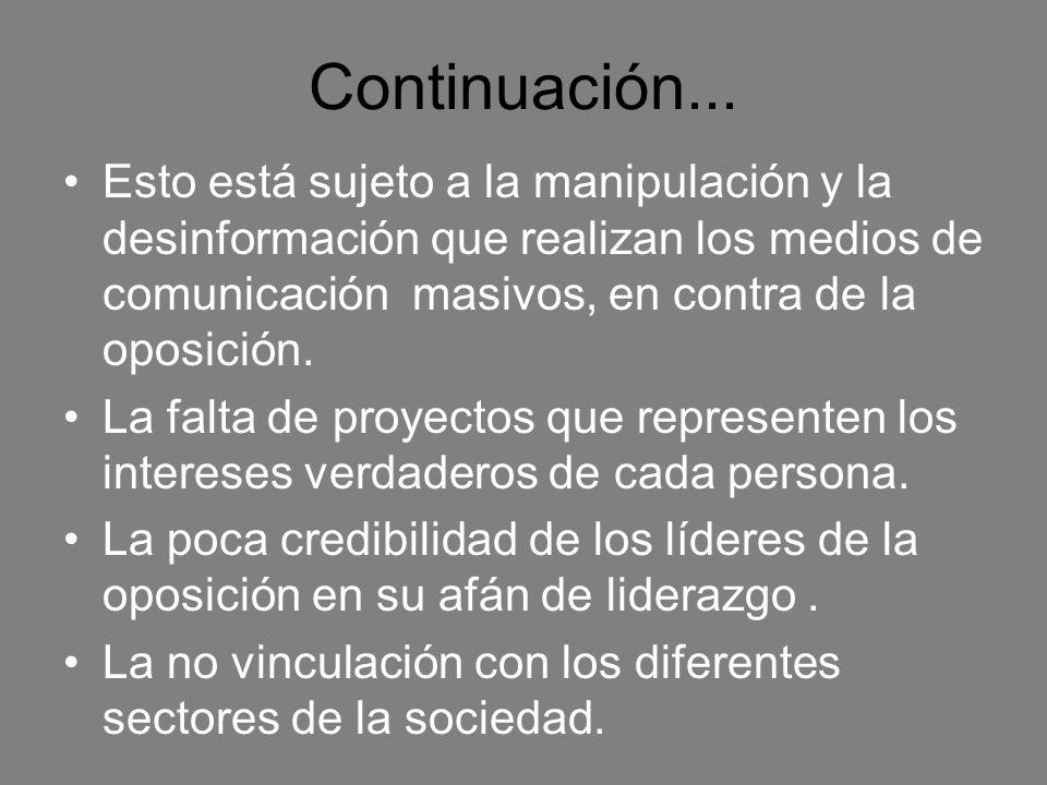 Continuación... Esto está sujeto a la manipulación y la desinformación que realizan los medios de comunicación masivos, en contra de la oposición.