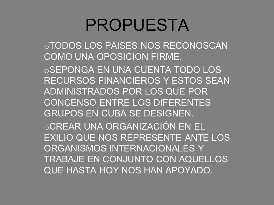 PROPUESTA TODOS LOS PAISES NOS RECONOSCAN COMO UNA OPOSICION FIRME.