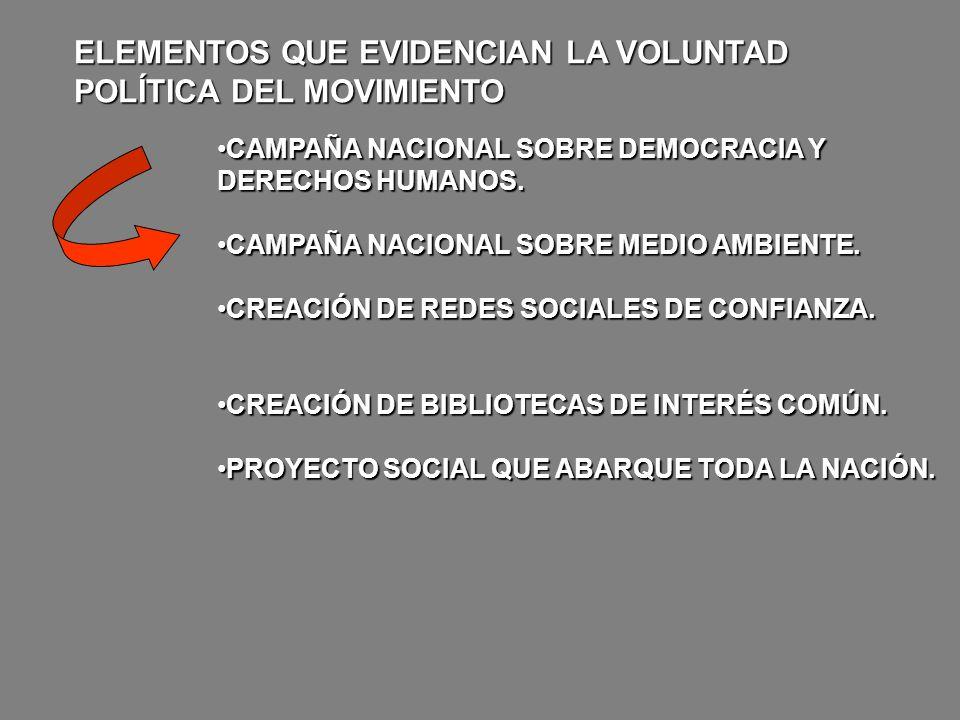 ELEMENTOS QUE EVIDENCIAN LA VOLUNTAD POLÍTICA DEL MOVIMIENTO