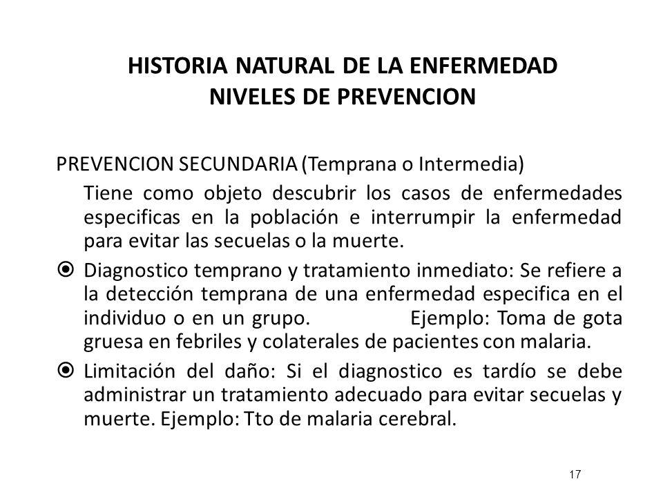 HISTORIA NATURAL DE LA ENFERMEDAD NIVELES DE PREVENCION