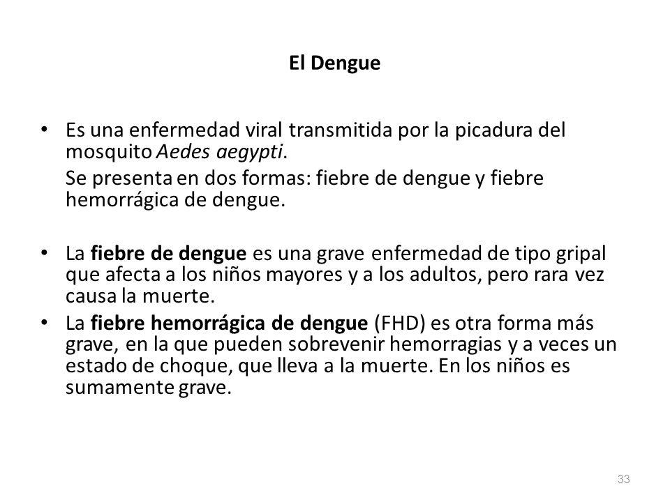 El Dengue Es una enfermedad viral transmitida por la picadura del mosquito Aedes aegypti.